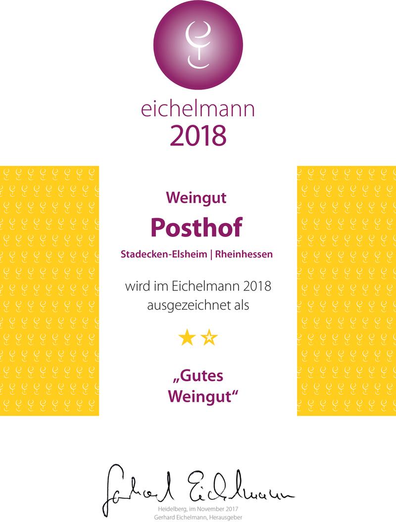 """Urkunde: Weingut Posthof Doll & Göth im Eichelmann 2018 als """"Gutes Weingut"""""""