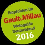 Empfohlen im Gault&Millau Weinguide Deutschland 2016